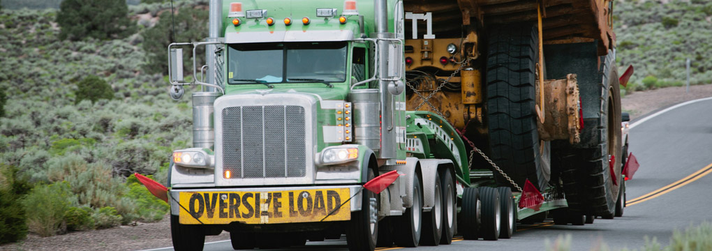 Front view of oversize load truck